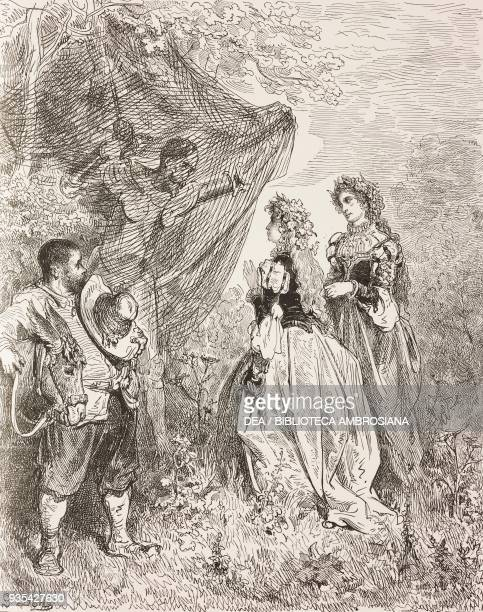 Don Quixote and Sancho Panza meeting two shepherdesses who have stretched out nets to catch birds engraving by Gustave Dore from Don Quixote of La...