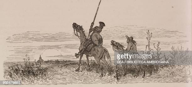 Don Quixote and Sancho Panza on the road to El Toboso engraving by Gustave Dore from Don Quixote of La Mancha by Miguel de Cervantes Volume II...