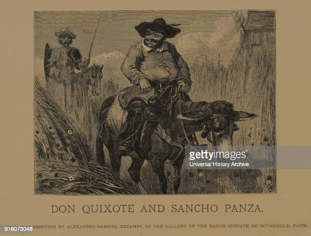 Don Quixote and Sancho Panza Woodcut Engraving from the Original Painting by AlexandreGabriel Decamps The Masterpieces of French Art by Louis Viardot...