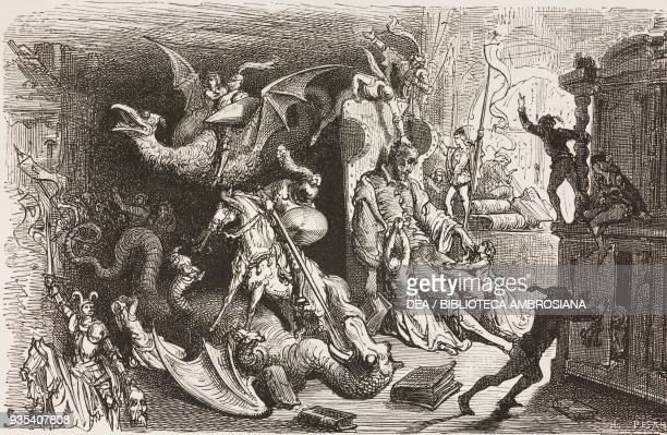Don Quixote asleep surrounded by knights ladies dragons and other characters from the novels he is passionate about engraving by Gustave Dore from...