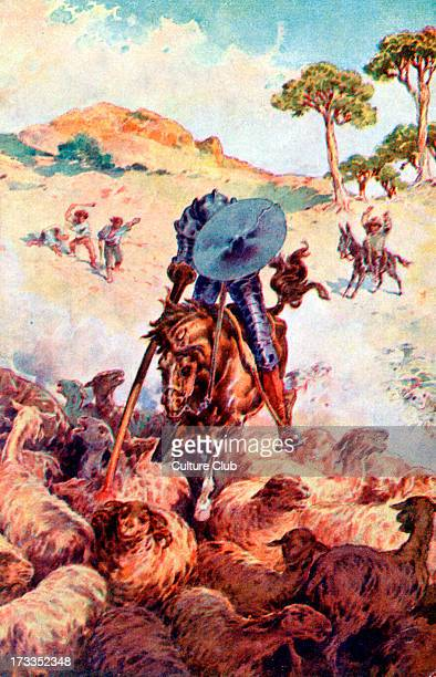 Don Quixote by Miguel de Cervantes From Part I Chapter XVIII Caption on back reads 'Saying this he charged through the flock of sheep' Postcard for...