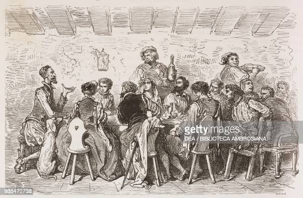 Don Quixote Don Fernando Dorotea Cardenio Lucinda the curate and the barber eating together at the inn engraving by Gustave Dore from Don Quixote of...