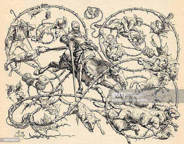 Don Quixote Fighting The Herd Of Sheep Mistaking Them For Two Armies From Don Quixote De La Mancha By Miguel De Cervantes Saavedra From Die...