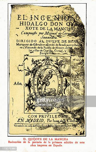 Don Quixote front cover of first edition published in Madrid Spain by Juan de la Cuesta Novel by Cervantes Spanish novelist poet and playwright 29...
