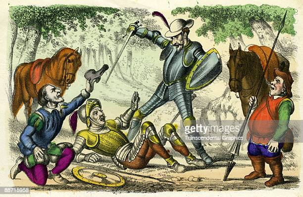 Don Quixote in a fracas a colored lithograph illustrating a scene from an unidentified edition of Miguel de Cervantes Saavedra's novel 'Don Quixote'...