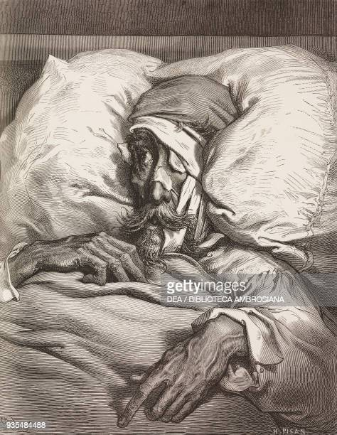 Don Quixote in bed with a bandaged face from wounds inflicted by the cat engraving by Gustave Dore from Don Quixote of La Mancha by Miguel de...