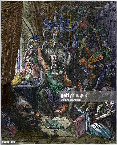 Don Quixote in his study surrounded by the phantoms of his daydreams Don Quixote de la Mancha by Miguel Cervantes engraved by Heliodore Joseph Pisan...