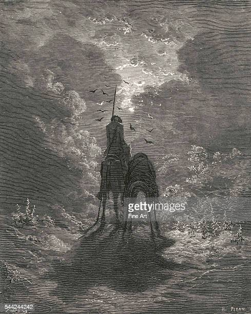 Don Quixote on horseback by Gustave Dore illustrating the Cervantes text 'We slept as soundly as if we had two feather beds under us' Engraving...