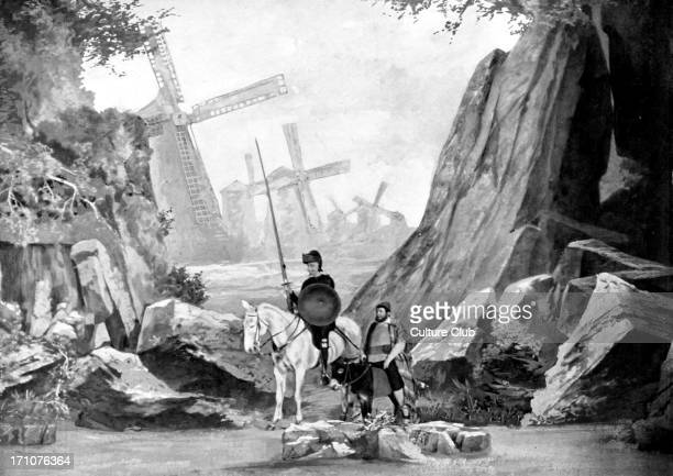 Don Quixote / Quichotte and Sanhco Panza with the windmill in the background Don Quichotte by Jean Richepin at Comedie Francais scene 4 1 Desember...