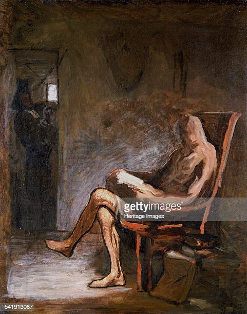 Don Quixote reading' 186567 Artist Honore Daumier
