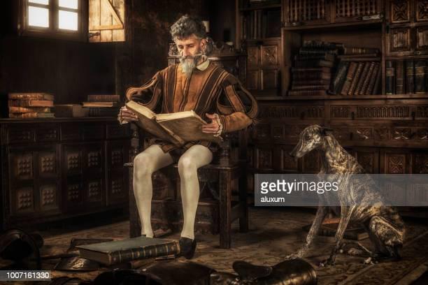 Don Quijote leyendo libros de caballerías