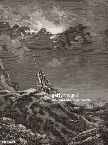 Don Quixote the curate and Dorotea on horseback followed by others walk towards Cartagena engraving by Gustave Dore from Don Quixote of La Mancha by...