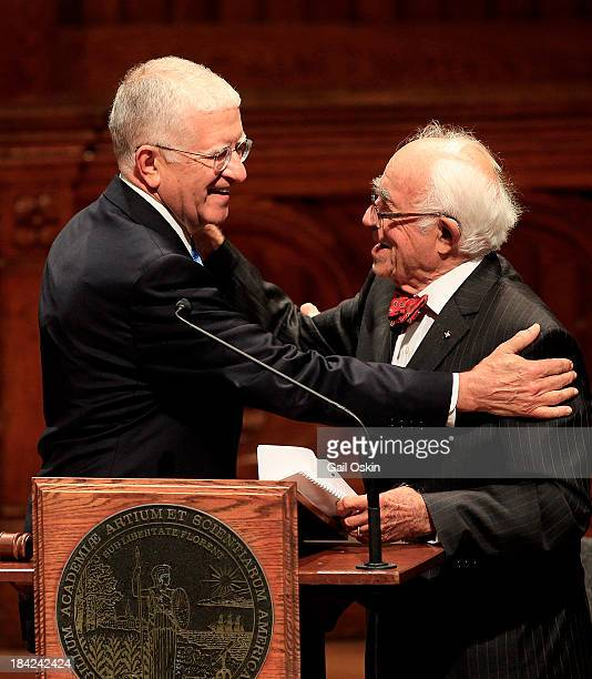 Don Randel and Louis Cabot attend the American Academy of Arts and Sciences Induction Ceremony 2013 at the Sanders Theatre at Harvard University on...