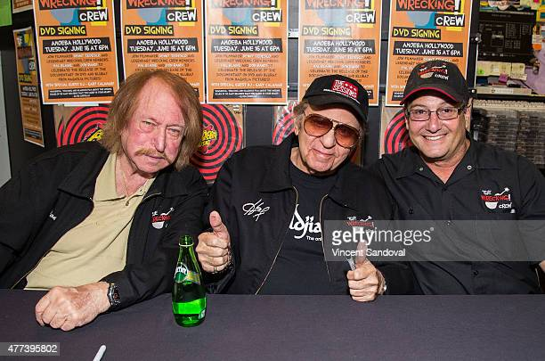 Don Randi Hal Blaine and Denny Tedesco attend The Wrecking Crew DVD release party at Amoeba Music on June 16 2015 in Hollywood California