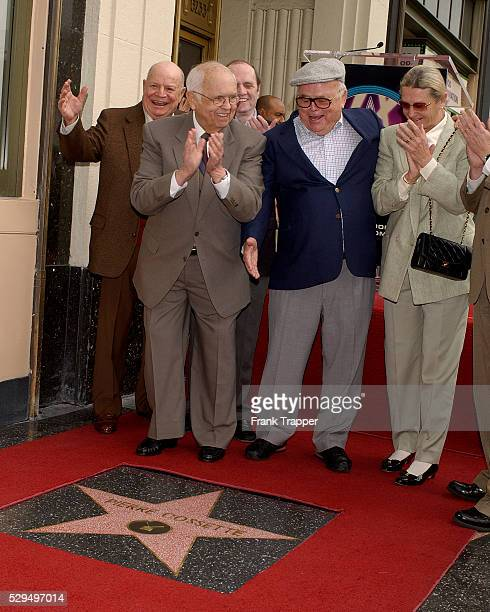 Don Rickles Johnny Grant Bob Newhart with Pierre Cossette and his wife attend the Star ceremony honoring him on the Hollywood Walk of Fame