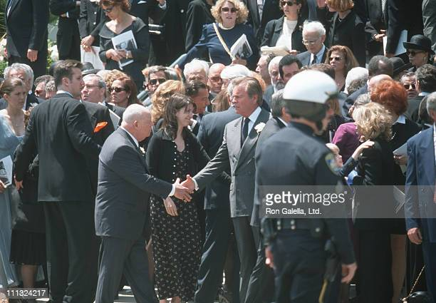 Don Rickles Robert Wagner and guests during Funeral of Frank Sinatra at Little Shepherd Catholic Church in Beverly Hills California United States