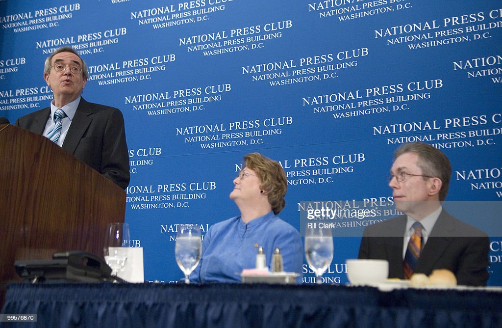 Don Ritchie, associate Senate historian, delivers his speech on 'Scoops, Packs, and Clubs: A Centennial Survey of the National Press Club and the Washington Press Corps,' as a part of the National Press Club Centennial Week celebration on Monday, March 31, 2008. To the right are National Press Club president Sylvia Smith and Senate historian Richard Baker.
