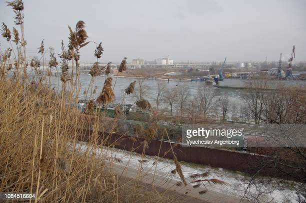 don river in autumn, railway track in rostov-on-don, southern russia - argenberg stock pictures, royalty-free photos & images