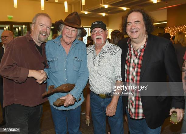 Don Schlitz, Billy Joe Shaver, Richie Albright and Jeremy Tepper of Sirius XM attend the CMHOF Outlaws and Armadillos VIP Opening Reception on May...