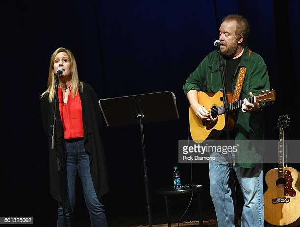 Don Schlitz is joined by Stacey Schlitz during Songwriter Session Don Schlitz at The Country Music Hall of Fame and Museum in the Ford Theater on...