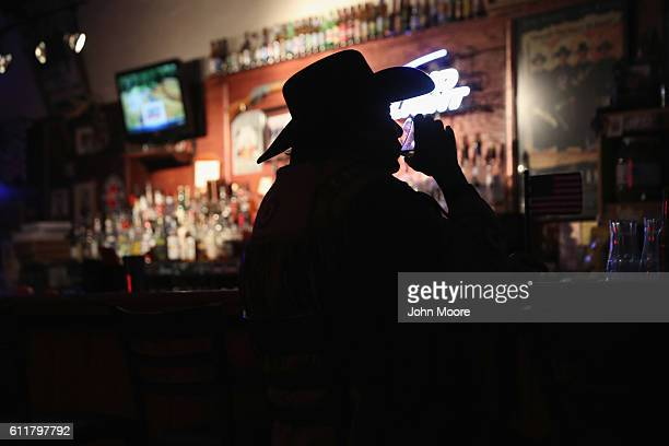 Don Scottie Scott 71 and retired drinks and watches television at the Doc Hollidays Saloon on September 29 2016 in Tombstone Arizona Tombstone was...