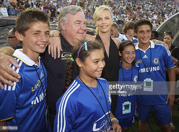 Don Sheppard of the LAFC Chelsea and actress Charlize Theron attend Chelsea FC and InterMilan soccer match benefitting LAFC Chelsea and Africa...