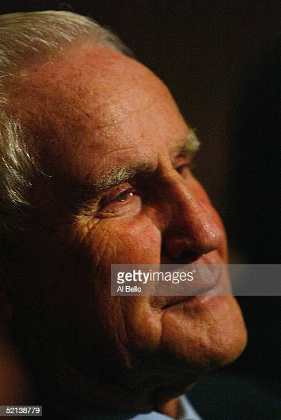 Don Shula former head coach of the Miami Dolphins watches his quarterback Dan Marino speak after being inducted into the Pro Football Hall of Fame...