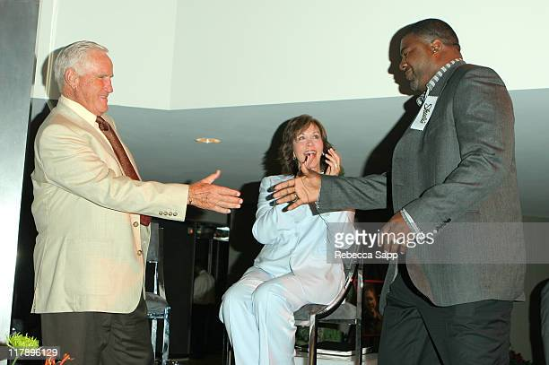 Don Shula Mary Anne Shula and Brian Cox during Shula's 347 Opening at Sheraton Gateway Hotel in Los Angeles California United States
