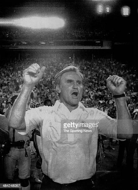 Don Shula of the Miami Dolphins celebrates circa 1980s