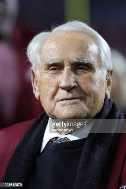 Don Shula of the NLF 100 AllTime Team is honored on the field prior to Super Bowl LIV between the San Francisco 49ers and the Kansas City Chiefs at...