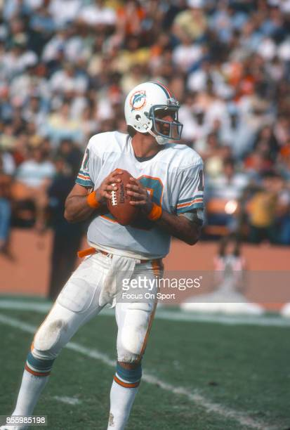 Don Strock of the Miami Dolphins drops back to pass against New York Jets during an NFL football game December 20 1980 at the Orange Bowl in Miami...