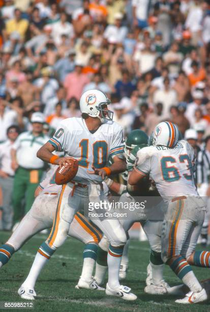 Don Strock of the Miami Dolphins drops back to pass against New York Jets during an NFL football game December 15 1979 at the Orange Bowl in Miami...