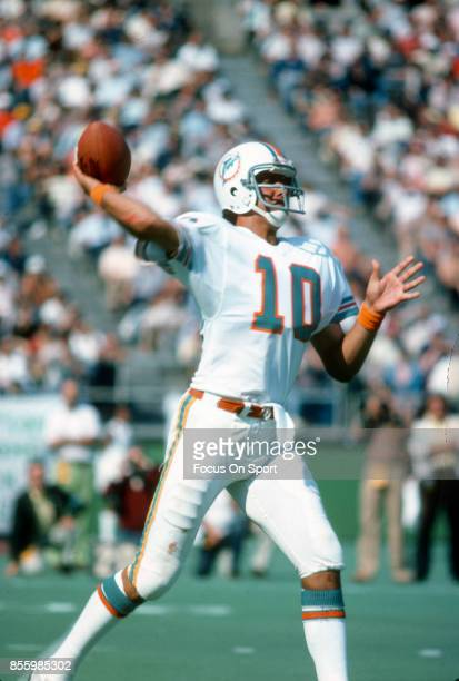Don Strock of the Miami Dolphins drops back to pass against the Philadelphia Eagles during an NFL football game September 24 1978 at Veterans Stadium...