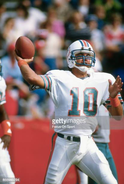 Don Strock of the Miami Dolphins drops back to pass during an NFL football game circa 1981 Strock played for the Dolphins from 197387