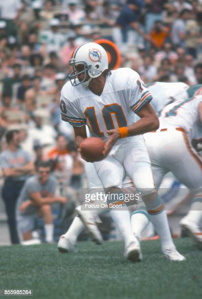 Don Strock of the Miami Dolphins in action against New York Jets during an NFL football game December 15 1979 at the Orange Bowl in Miami Florida...