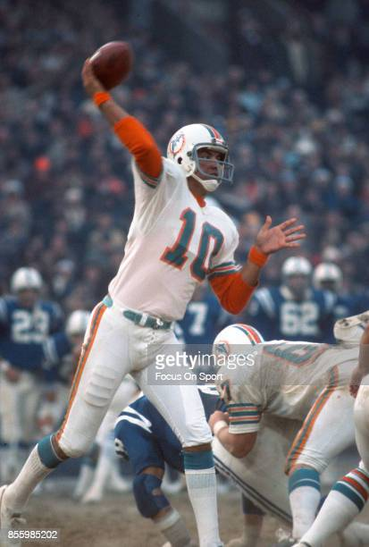 Don Strock of the Miami Dolphins throws a pass against the Baltimore Colts during an NFL football game December 14 1975 at Memorial Stadium in...