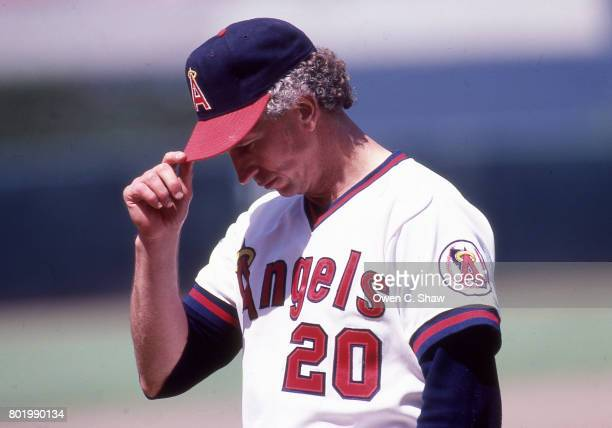 Don Sutton of the California Angels pitches at the Big A circa 1986 in Anaheim California