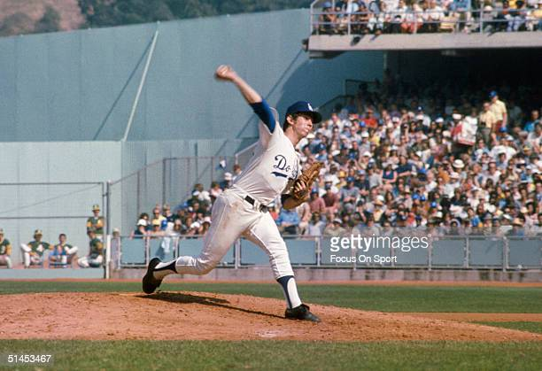 Don Sutton of the Los Angeles pitches on the mound during the World Series against the Oakland Athletics at Dodger Stadium on October 1974 in Los...