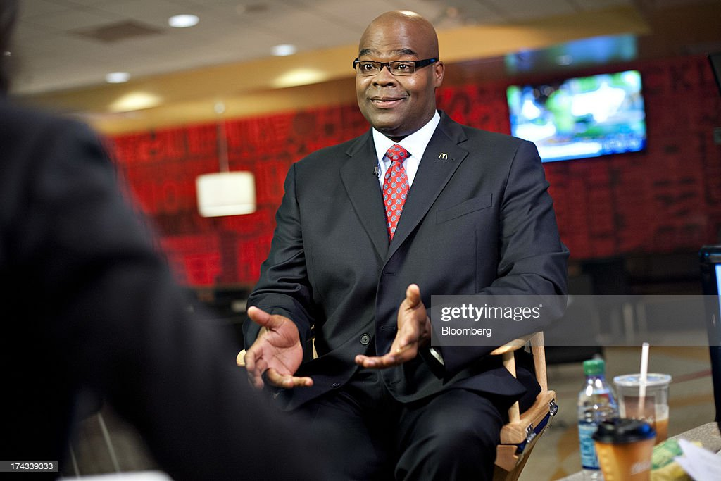 Don Thompson, president and chief executive officer of McDonald's Corp., speaks during a Bloomberg Television interview at McDonald's headquarters in Oak Brook, Illinois, U.S., on Wednesday, July 24, 2013. Thompson said the company is an 'above minimum-wage employer' and will continue to provide entry-level jobs. Photographer: Daniel Acker/Bloomberg via Getty Images