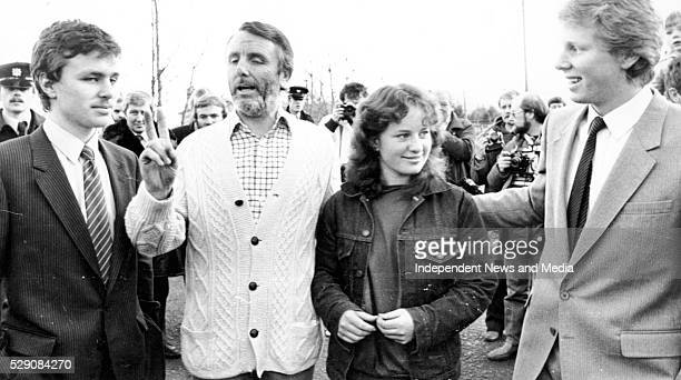 Don Tidey with his children on the first day of freedom following his kidnap speaking to the media at his home at Woodtown Way, Rathfarnham....