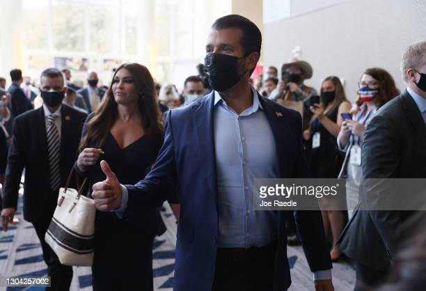 Don Trump, Jr. And Kimberly Guilfoyle arrive to speak at the Conservative Political Action Conference held in the Hyatt Regency on February 26, 2021...