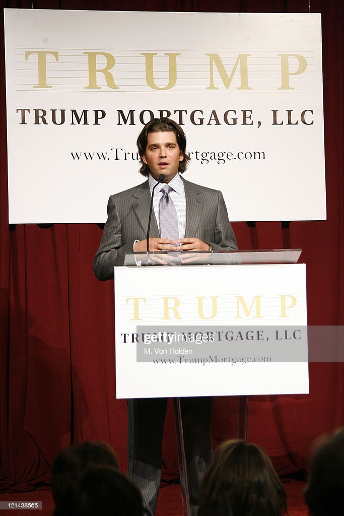 Don Trump Jr. during Donald J. Trump Announces the Launch of Trump Mortgage, LLC at Trump Tower in Manhattan, New York, United States.