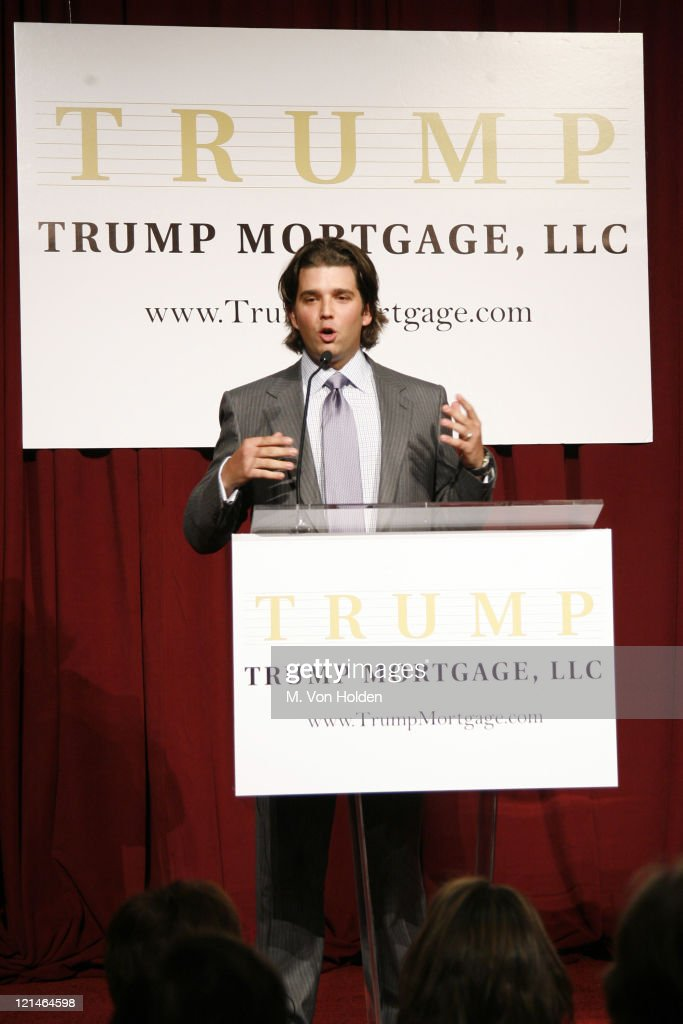 Don Trump Jr during Donald J. Trump Announces the Launch of Trump Mortgage, LLC at Trump Tower in Manhattan, New York, United States.