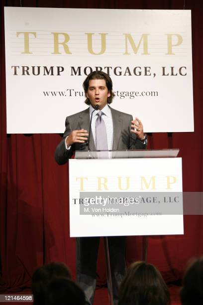 Don Trump Jr during Donald J Trump Announces the Launch of Trump Mortgage LLC at Trump Tower in Manhattan New York United States