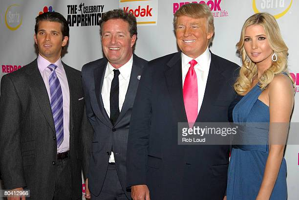 Don Trump Jr Piers Morgan Donald Trump and Ivanka Trump pose at the 'Celebrity Apprentice' finale at Rock Center Cafe on March 27 2008 in New York...