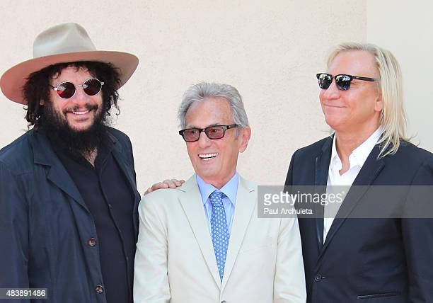 Don Was Al Schmitt and Joe Walsh attend the ceremony to honor Al Schmitt with a Star on the Hollywood Walk Of Fame on August 13 2015 in Los Angeles...