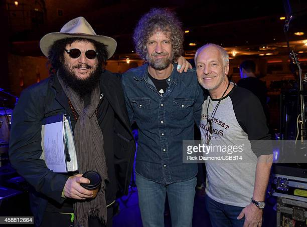 Don Was Audley Freed and Peter Frampton pose backstage at the rehearsals for One More For The Fans Celebrating the Songs Music of Lynyrd Skynyrd at...