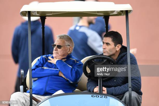 Don Welke and AJ Preller of the San Diego Padres watches a workout at the Peoria Sports Complex on February 21 2018 in Peoria Arizona