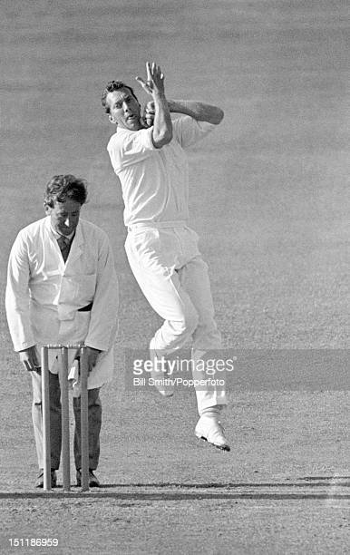 Don Wilson bowling for Yorkshire during their County Championship match against Derbyshire at Chesterfield, 21st July 1969. The match ended in a draw.