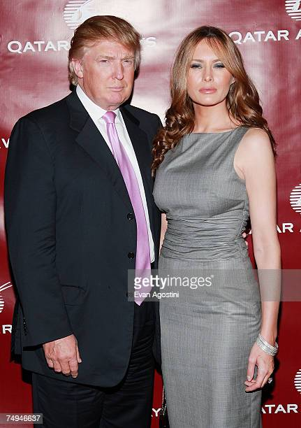 Donald and Melania Trump attend a Qatar Airways gala to celebrate their inaugural flights to NYC June 28 2007 at the Frederick P Rose Hall Jazz at...